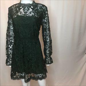Zara hunter/ forest green mini lace dress